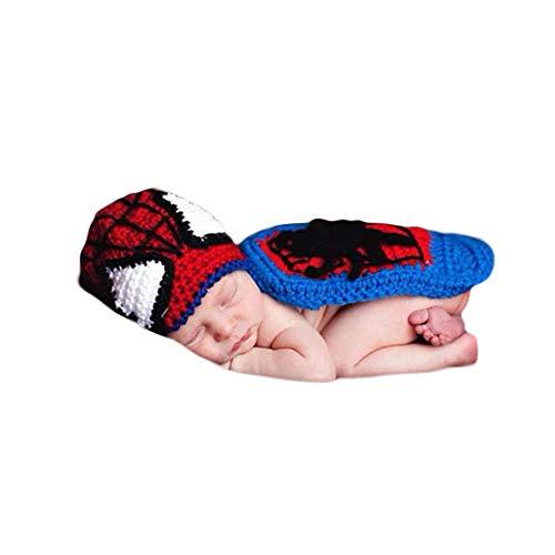 Neugeborenes Baby Häkeln Kostüm Outfits Fotografie Spider Man Outfit Hut+Mantel 0-6 Monate