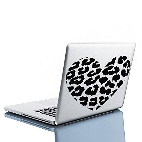 Pegatina de Vinilo de Arte de Pared en Forma de Corazón con Estampado de Piel de Leopardo de 20 x 17cm para Decoración del Hogar y Pegatina de Regalo Gratis