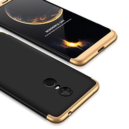 Bounceback ® Xiaomi Mi Redmi Note 5 Case 3 in1 360º Anti Slip Super Slim Back Cover for Mi Redmi Note 5 (Black & gold)