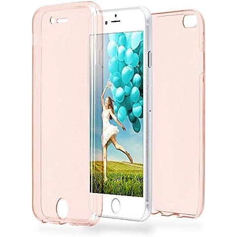 Caso doble para iPhone 6 / 6S | Funda de silicona transparente cubre todo | Delgada 360° completa casos del smartphone OneFlow | Back Cover en Rose