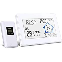 DIGOO Station Météo Intérieure Extérieure sans Fil avec Capteur LED Ecran Horloge Numérique Thermomètre Hygromètre Moniteur Température Humidité