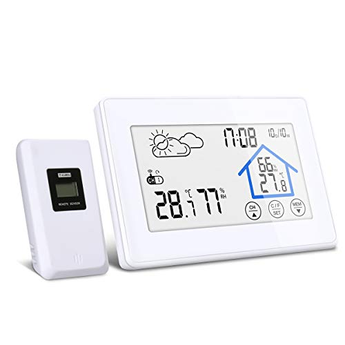 Wetterstation, DIGOO DG-TH8380 Wetterstation mit Funk, Wetterstation Farbdisplay mit Touchscreen, Innen- und Außenthermometer Hygrometer, 3 Außensensoren, weiß