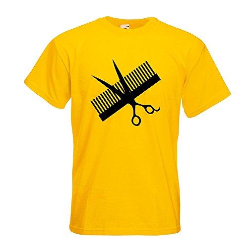 KIWISTAR - Kamm & Schere T-Shirt in 15 verschiedenen Farben - Herren Funshirt bedruckt Design Sprüche Spruch Motive Oberteil Baumwolle Print Größe S M L XL XXL Gelb