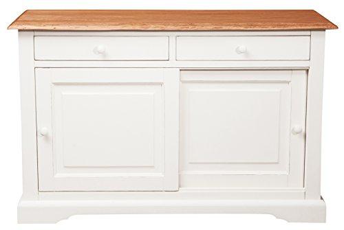 Aparador Country de madera maciza de tilo estructura blanca antiguo Piano Acabado Natural 142x 50x 90cm