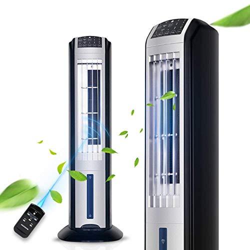 Tower Luftkühler Ventilator, Schwarzes Turmgebläse, tragbarer Luftbefeuchter und Schalldämpfer ohne Flügel mit Fernbedienung und 3-m-Kühlfunktion für antimikrobielle Filter - schwarz (Color : Black)