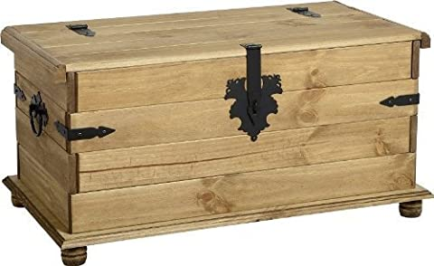 Mercer's Furniture Corona Coffre de rangement simple en pin ciré effet vieilli