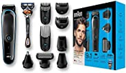 Braun All-in-one trimmer MGK5080, 9-in-1 trimmer, 7 attachments and Gillette Fusion5 ProGlide razor.
