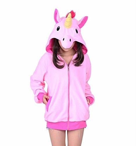 Belisyr Herren Blouson Kapuzenpullover, Animalprint Gr. X-Large, Pink Large Tail Unicorn Pegasus