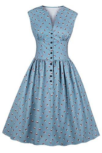 MisShow Robe de Gala Mi Longue Imprimée à Fleurs Robe de Soirée Courte au Genou Chic Elégante Style Vintage année 60s Bleu M