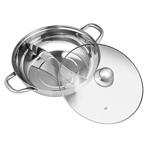 BESTONZON Hot Pot, pentola Anatra Mandarino, casseruola da Cucina Soup Cooking Tool,2griglia 2Gusti Hot Pot–30cm in Acciaio Inox, con Coperchio in Vetro (30cm)