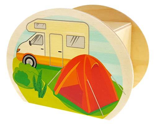 Hess Holzspielzeug 15202 - Spardose aus Holz mit Schlüssel, Zelt und Campingwagen, Geschenk zum Geburtstag oder zur Hochzeit, ca. 11,5 x 8,5 x 6,5 cm