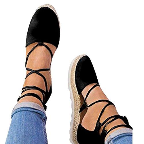 VJGOAL Damen Sandalen, Damen Roman Flat Lace-up Espadrilles Sommer Chunky Urlaub Sandalen Schuhe Strap Schuhe (36 EU, Schwarz) (Flats, High Heel)