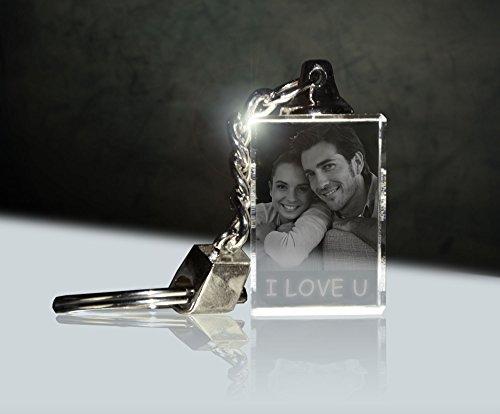 3Dglas Glas Schlüsselanhänger mit deinem Foto per Laser graviert -