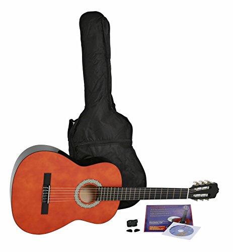 NAVARRA Konzertgitarre 4/4 STARTER SET honigfarben mit schwarzen Randeinlagen, incl. Tasche leicht gepolstert mit Rucksackriemen, Lehrbuch mit vielen Hits und CD, Cliptuner(Stimmgerät) mit LCD Nadelanzeige mit Hintergrundbeleuchtung, 2 Plektren