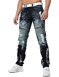 Kosmo Lupo Homme Coupe droite Jeans Destructeur Millésime détruit Regardez avec Farbklecksen et Code postal Details