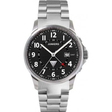 Junkers Men's Quartz Watch with Black Dial Analogue Display Quartz Stainless Steel 6848M2