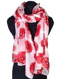 Creamy white poppy design long Scarf, Soft Ladies Fashion London
