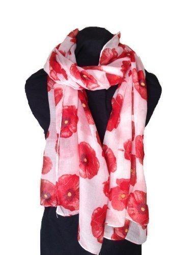 Bufanda larga para damas en rosa suave estampada con amapolas