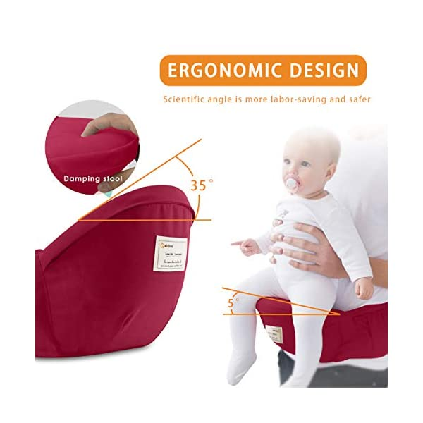 SONARIN 3 in 1 Multifunction Hipseat Baby Carrier,Front and Back,100% Cotton,Ergonomic,Easy Mom,Adapted to Your Child's Growing, 100% Guarantee and Free DELIVERY,Ideal Gift(Red) SONARIN Applicable age and Weight:0-36 months of baby, the maximum load:36KG, and adjustable the waist size can be up to 47.2 inches (about 120 cm). Material:designers carefully selected soft and delicate Cotton fabric. Resistant to wash, do not fade, ensure the comfort and breathability, Inner pad: EPP Foam,high strength,safe and no deformation,to the baby comfortable and safe experience. Description:Scientific 35°, the baby naturally fits the mother's body, safe and comfortable.Patented design of the auxiliary spine micro-C structure and leg opening design, natural M-type sitting.H-type bridge belt, effectively fixed shoulder strap position, to prevent shoulder straps fall, large buckle, intimate design, make your baby more secure. 4