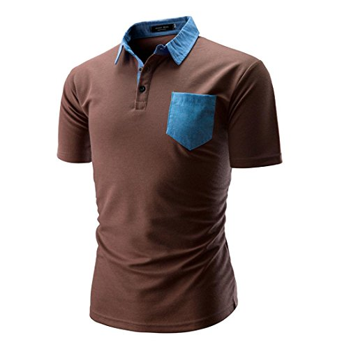 Herren Shirt, Baumwollmischung Crew Neck Kurzarm BasicFitness Atmungsaktiv Brusttasche Sweatshirt T-Shirt mit Kragen Größen m-2xl (XL, Kaffee)