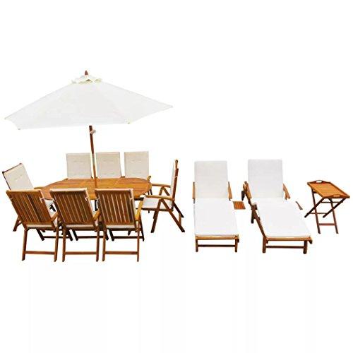 Festnight Set 23 pz Monili con Cuscini da Pranzo e Salotto da Giardino da Patio per Esterni in Massello d'Acacia 1 Tavolo allungabile+8 Sedie+2 Lettini Prendisole+1 Tavolino da Salotto+1 Parasole
