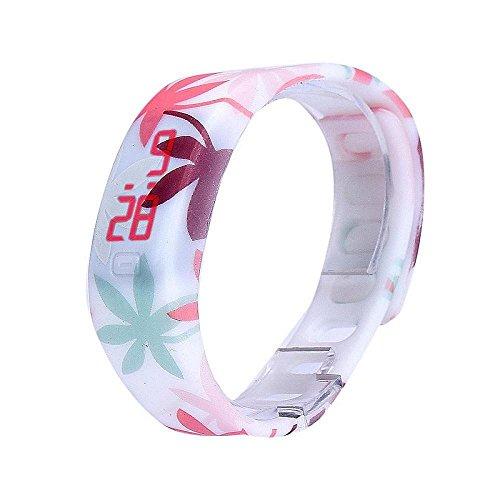 ZARU Reloj Digital LED rojo reloj de pulsera Hombres / Mujeres Deporte pulsera de goma D
