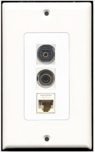 RiteAV-1Port Toslink und 1Port 3,5+ 1Port Cat6Ethernet White Decora Wall Plate Decora -