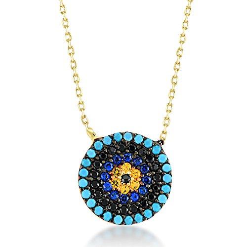 Damen Halskette aus 14 Karat / 585 Echt Gelbgold mit blauer Blick als Anhänger, Nazar, Kettenlänge 45cm Valentinstag Geschenk