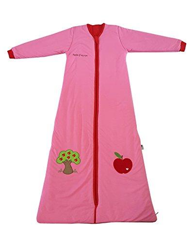 Schlummersack Winter Kinderschlafsack in rot für Mädchen, warm gefüttert mit Ärmeln3.5 Tog - Roter Apfel - 6-10 Jahre/150 cm