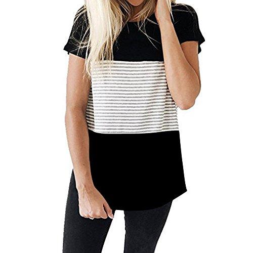 CAOQAO Damen Casual Patchwork Farbblock Kurzarm Triple Color Block Streifen T-Shirt LäSsige Bluse Atmungsaktives Laufshirt(XXL,Schwarz)