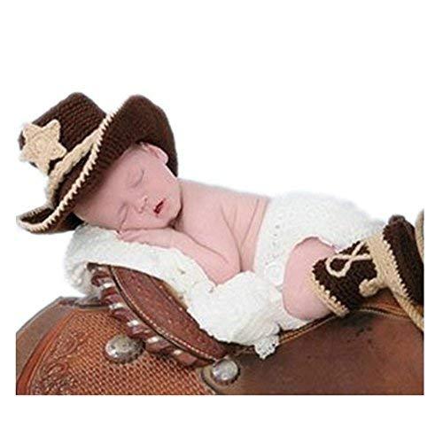 BINLUNNU Neugeborene Junge mädchen Handarbeit gehäkelte Baby kostüm fotoshooting Hut Mütze Keuchen - Mädchen Kostüm Stiefel