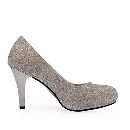 VogueZone009 Damen Lackleder Rund Zehe Stiletto Ziehen Auf Rein Pumps Schuhe Golden