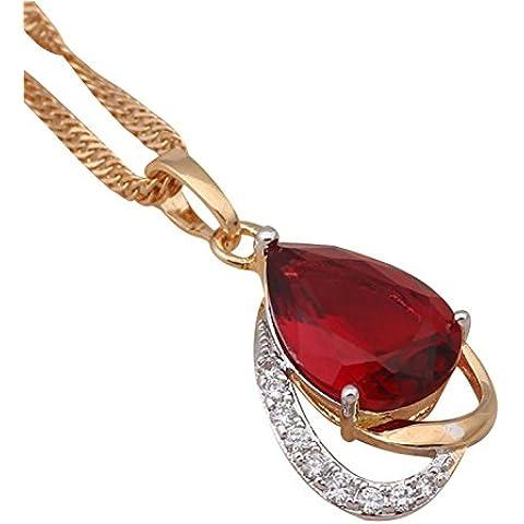 Bling fashion Acqua Goccia Rubino placcato oro giallo 18K collana ciondolo amuleto cristallo rosa zirconi Cameo Fashion Jewelry ln230a