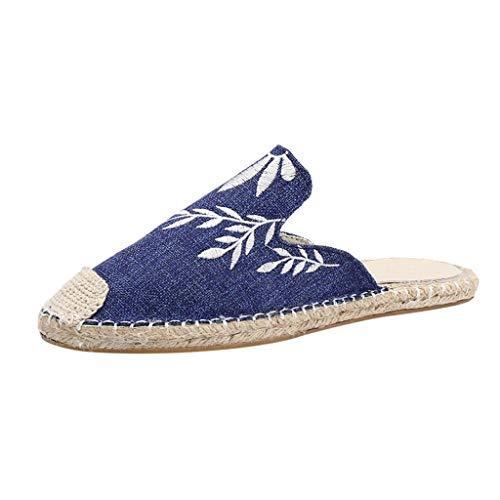 DEELIN Sandalen Damen Sticken Flache Pantoffel-runde Zehen-Freizeitschuhe -