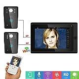 Xianxian88 WiFi Wireless Intelligent Video citofono Campanello da 2, 7 Pollici Cavo HD Display Camera videocamera, Adatto per Villa, casa, Ufficio Campanello