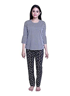 TRAZO Women's Printed Cotton Pyjamas for Women in Navy Color
