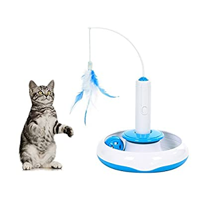 Electric Rotate Interactive Cat Feather Toys Teaser Motion Kitten Toys