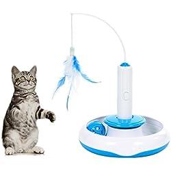 Tacobear Juguete de Gato Interactivo Juguete Interactivo eléctrico para Gato con Movimiento Giratorio de Pluma y Pelota extraibles