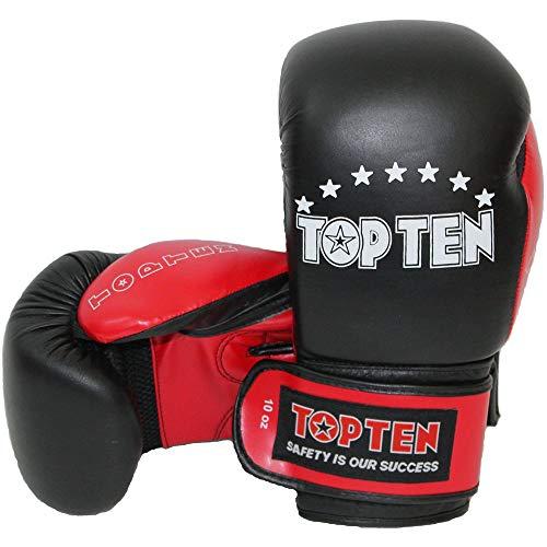 TOP Ten Boxhandschuhe, TOP Ten, schwarz-rot Größe 10 Oz