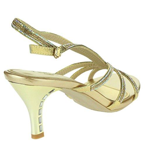 Femmes Dames Glitzy Pierres de Strass Courroies Accent Talons hauts Soir Fête Mariage Prom De mariée Diamante Sandales Chaussures Taille Or