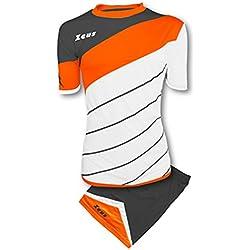 Zeus Kit Lybra Equipaciòn para el Fùtbol y el Voleibol Para Hombre Sport Pegashop Colour Blanco-Naranja Fluorescente-Gris Oscuro (XS)