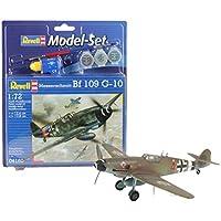 Revell Modellbausatz Flugzeug 1:72 - Messerschmitt Bf 109 G-10 im Maßstab 1:72, Level 3, originalgetreue Nachbildung mit vielen Details, , Model Set mit Basiszubehör, 64160