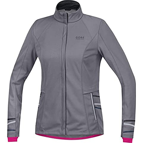 GORE RUNNING WEAR Damen Soft Shell Laufjacke, GORE WINDSTOPPER, MYTHOS LADY 2.0 WS SO Jacket, Größe 38, Dunkelgrau, JWSMYLL