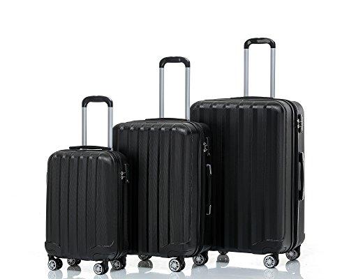 2080 TSA-Schloß Zwillingsrollen 3 tlg. Reisekofferset Koffer Kofferset Trolley Trolleys Hartschale in 12 Farben (Schwarz)