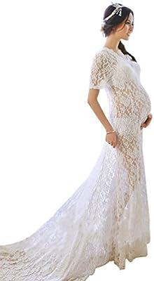 NiSeng Mujer Embarazada Perspectiva V-cuello Encaje Manga Corta Vestido Mujer Embarazada Fotografía Maxi Vestido