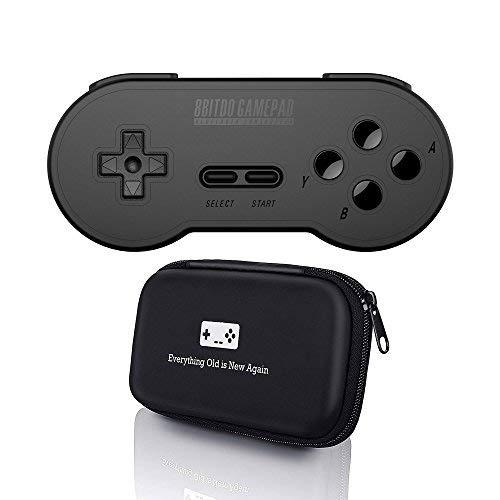 8bitdo SN30Schwarz Edition Controller mit Bonus, der Fall-Für IOS/Android/Mac/PC/Schalter/NES und SNES Classic -