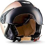 "Moto Helmets® H44 ""Vintage Bronze"" · Jet-Helm · Motorrad-Helm Roller-Helm Scooter-Helm Bobber Retro · ECE Visier Schnellverschluss Tasche XS (53-54cm)"