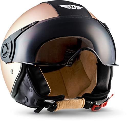 "Moto Helmets® H44 \""Vintage Bronze\"" · Jet-Helm · Motorrad-Helm Roller-Helm Scooter-Helm Bobber Mofa-Helm Chopper Retro Cruiser Vintage Pilot Biker · ECE Visier Schnellverschluss Tasche M (57-58cm)"
