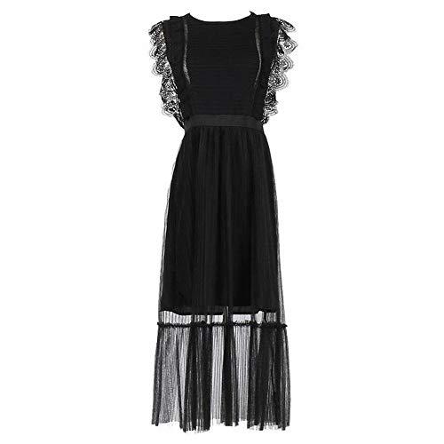 Good dress Aristokratische Stil Schwarze Spitze Seite Mesh Gaze Ärmellose Taille Gefaltete Kleid Weiblich, Schwarz, L -