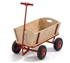happy people 74002 bollerwagen aus holz mit gummireifen und metalldeichsel spielzeug. Black Bedroom Furniture Sets. Home Design Ideas